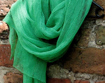 Linen Scarf Shawl Wrap Stole Bright Green