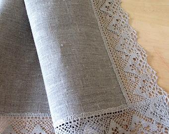 "Linen Tablecloth Wedding Tablecloth Burlap Natural Gray Linen Lace 60"" x 80"""