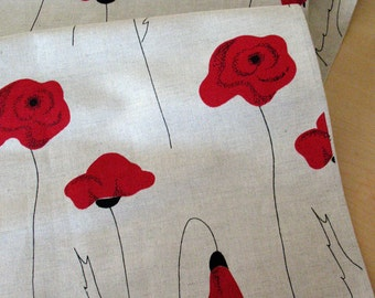 """Linen Table Runner Tablecloth Natural  White Gray Black Red poppy Linen Lace 56"""" x 18.5"""""""