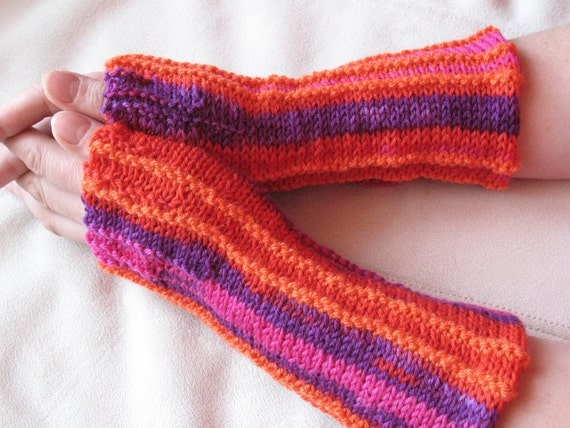 Fingerless Mittens Gloves Multicolored knit (orange, pink, ultra-pink, purple, violet, red)
