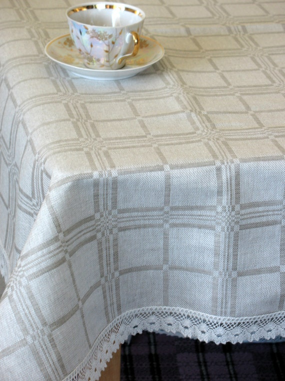 """Linen Tablecloth Checked Natural White and Grau Linen Lace 94,4"""" x 59,8"""""""