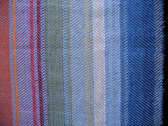 "Linen Table Runner Tablecloth Multicolored Blue Red Green Yellow Orange 37,8"" x 17,7"""