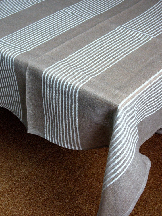 "Linen Tablecloth Natural White Gray  in Stripes 118,1"" x 57,5"""