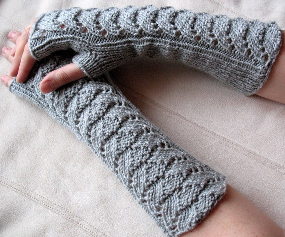 Long Fingerless Gloves Gray Arm Warmers  Mittens Soft Acrylic