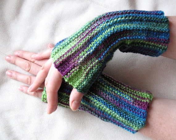 Fingerless Mittens Gloves Purple Violet Blue Green Salad Azure