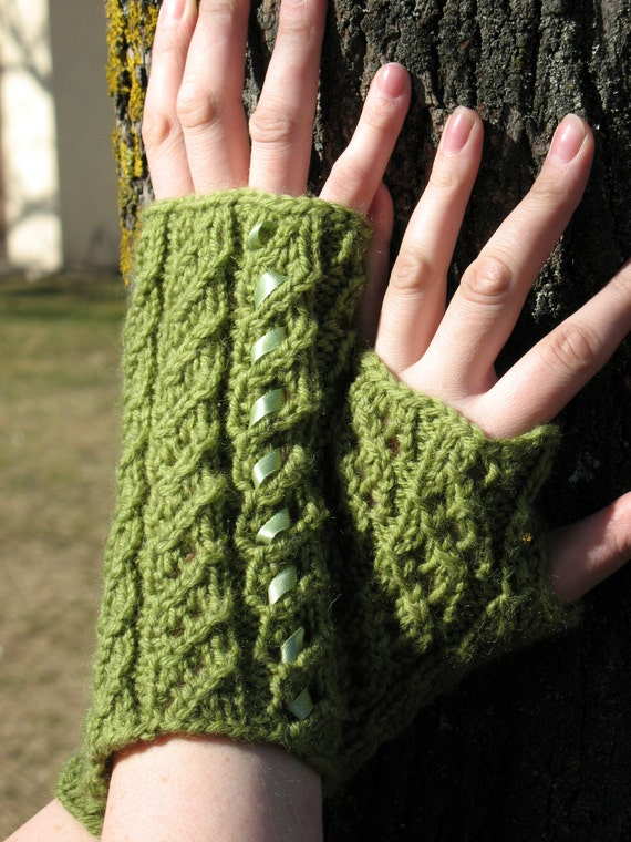 Fingerless Gloves Mittens Green Arm Warmers, Acrylic, Wool  with green Satin