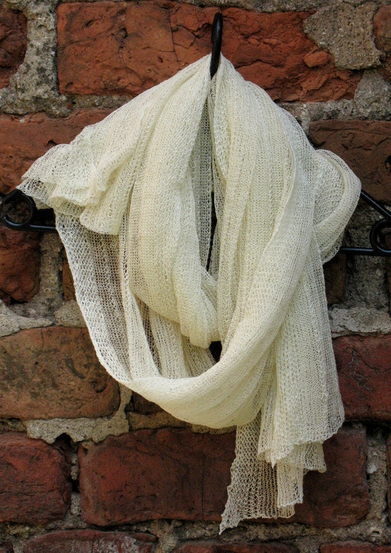 Linen Scarf Shawl Wrap Stole milk-white, Light, Transparent