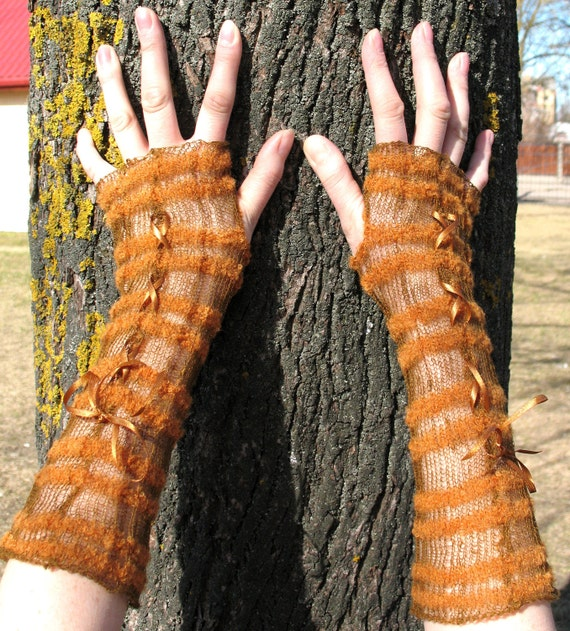 Wedding Gloves Fingerless Lace Mittens Brown Beige Arm Warmers Soft Linen, Acrylic