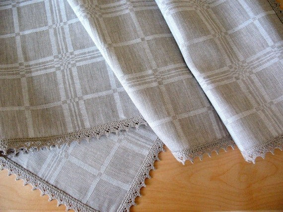 """Linen Tablecloth Checked Natural White Gray, Linen Lace  59""""x 59"""""""