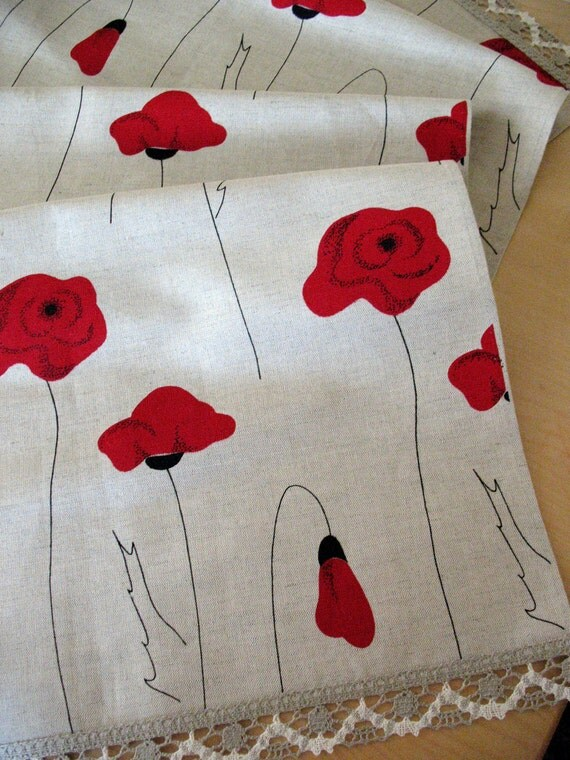"Linen Table Runner Tablecloth Natural  White Gray Black Red poppy, Linen Lace 71"" x 18,5"""