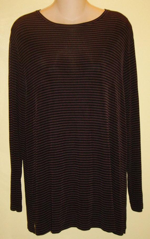 Chico's Tunic Top Stretch Knit Long Sleeve Black Brown Stripe Women's Size 2, M / L