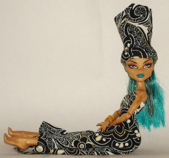 Monster High Doll Outfit Clothes, Nefera de Nile's Black and Gold Glam