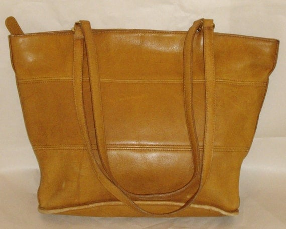 COACH New York Tribeca Bucket Shopper Tote Bag, Vintage British Tan Leather Purse
