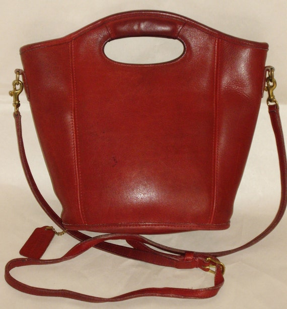COACH Bucket Bag, Vintage Red Leather Top Handle Style, Converts to Shoulder Purse 9993