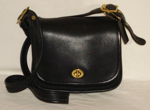 COACH Flap Purse, Vintage Black Leather Shoulder Bag, Style 9866