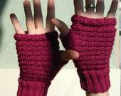 Fingerless gloves - wool - raspberry, black, white, green, cinnamon, gray