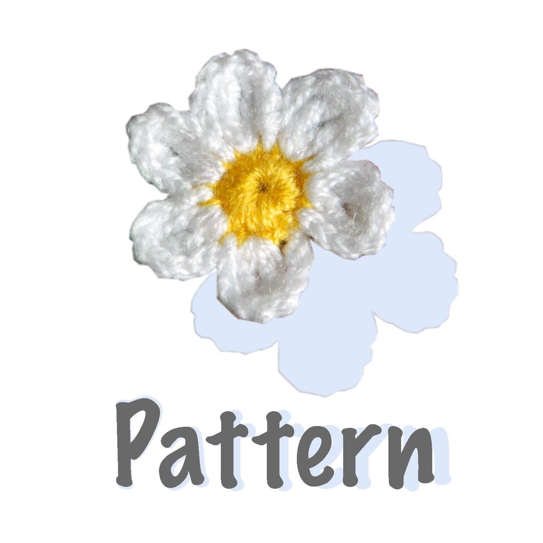 Crochet Small Daisy Flower Pattern : Items similar to Crochet pattern - 6 petal Daisy Flower ...