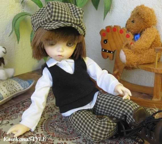 "LAST ONE - Kawkana - Cute boy set, Pants, Cap, Shirt, Vest  for YoSD, LTF, 1/6 dolfie ""YoSD12-01"""