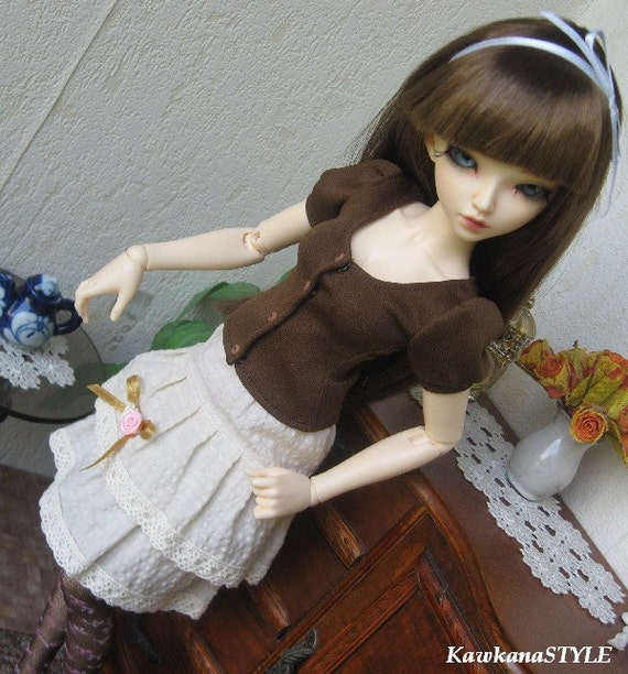 Kawkana- Outfit: Blouse, skirt, stockings and pin for MSD, dollfie MNF, JiD, other