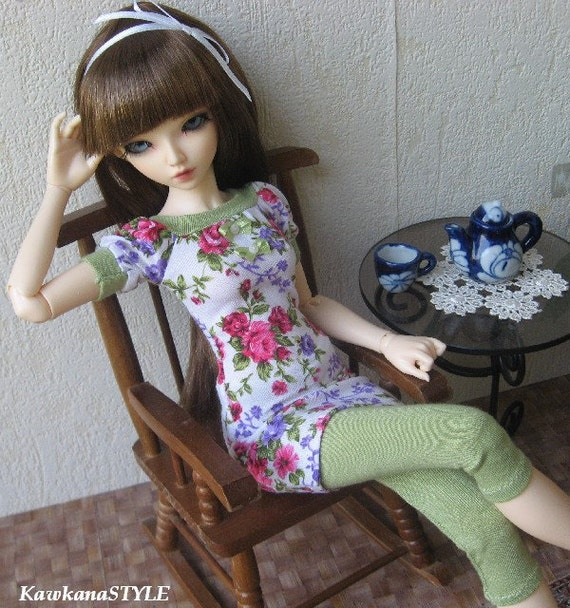 Blouse - tunic with flowers & leggings for MSD, dollfie LAST ONE