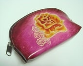 Handtooled Women leather coin purse ( Red )