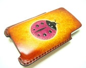 Penny the Ladybug iPhone 4 Leather Orange Case ( Vegetable Tanned )