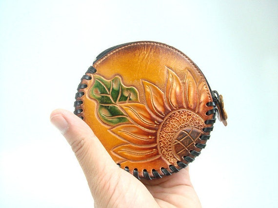 Sun Flower leather round coin purse ( Brown )