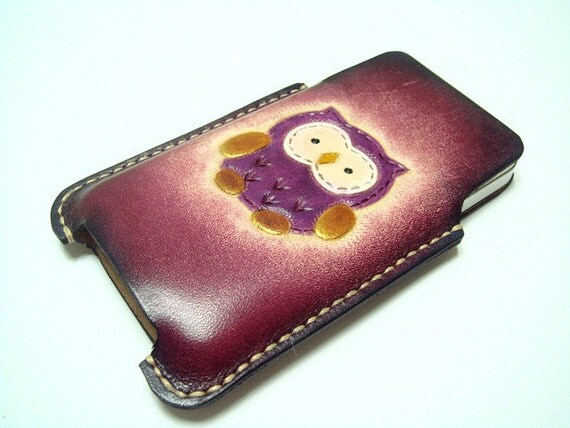 Fanny the Owl iPhone 4 Leather Purple Case ( Vegetable Tanned )