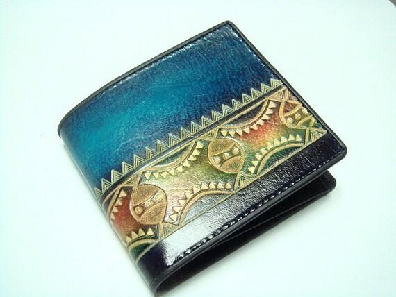 Men Handtooled Leather Billfold Wallet ( Blue )