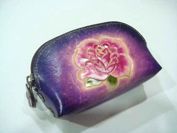 Handtooled Rose Women leather coin purse ( Purple )