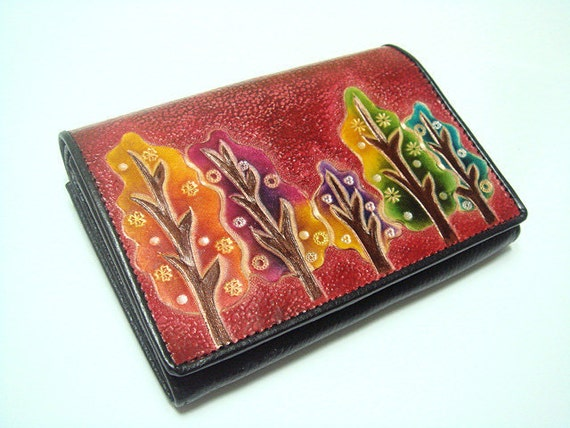 Tree Design leather purse ( Red )