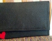 Large Black Felt Clutch with hearts