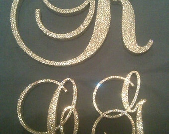 3 Piece Crystal Monogram Cake Topper Set