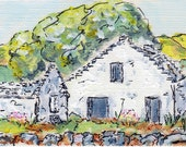 ACEO At Creag Dhu Scotland Derelict Farm Original Acrylic Painting