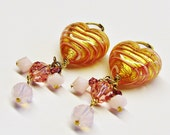 Pink Valentine Heart Earrings Murano Glass 'Sought by the Princess'