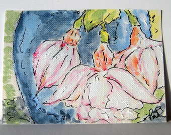 ACEO White Fuchsias and Blue Pot Original Acrylic Painting