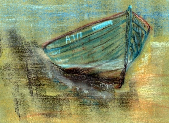 Two Art Print Postcards Pastel Drawing 'The Thistle' Traditional Fishing Boat Scotland