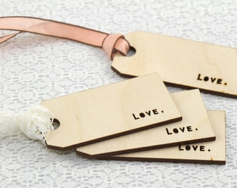 Love Wood Gift Tags - 4 qty
