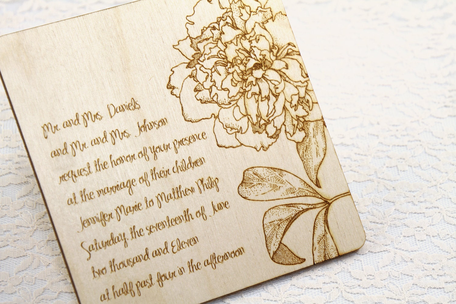 Outdoor Wedding Invitation Wording: Garden Party WOOD Wedding Invitation