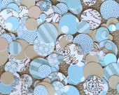 Beach Wedding Table Confetti - Beautiful Mixed Print in Blue, Sea Green and Sand - Table Decor or Inside Invitations - 12 oz Bag