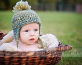 Soft and fuzzy earflap 0-3 month hat - Made To Order