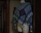 hippy shawl, blue and white plaid with a peace sign.