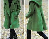 grass green Hoodie Wool cape winter coat