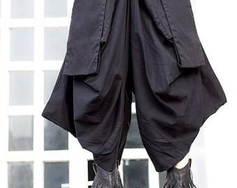 Black Large pocket women pants women cotton Wide leg pants