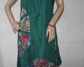 Summer Cotton double layer Asymmetric Dress in dark green