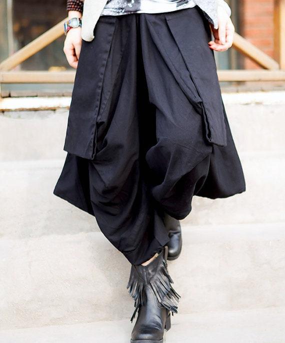 women cotton Wide leg pants/ asymmetric Large pocket women trousers