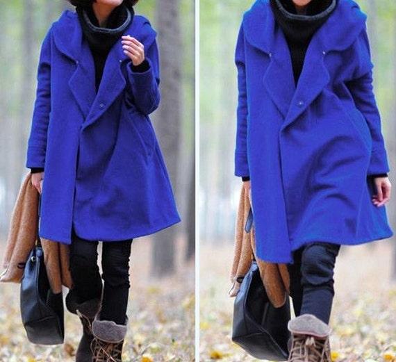 Blue Hoodie Wool cape winter coat