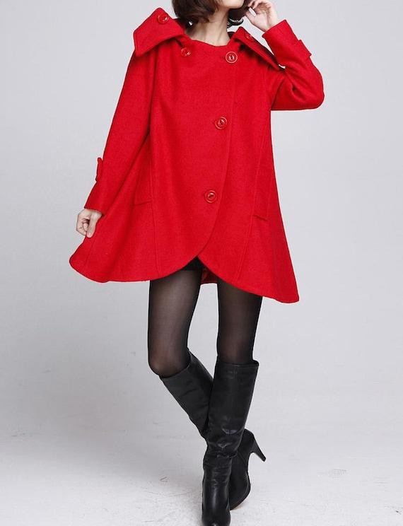Red cloak wool coat Hooded Cape women Winter wool coat