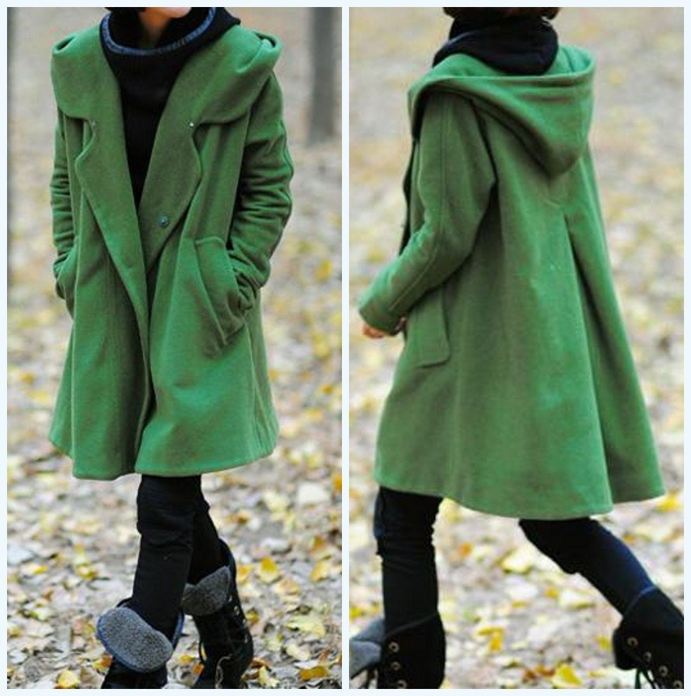 grass green Hoodie Wool cape winter coat