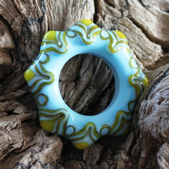 Lampwork glass focal bead 'Spring wheel' relisted with 16% off previous listed price. SRA